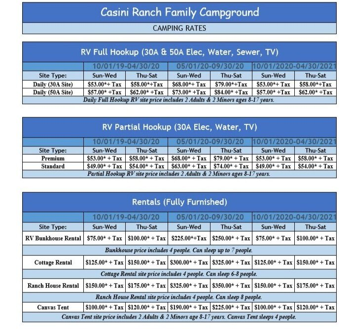 Casini Ranch Family Campground Rates Chart
