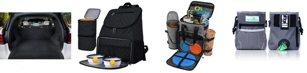 Examples of pet travel equipment for RV trip