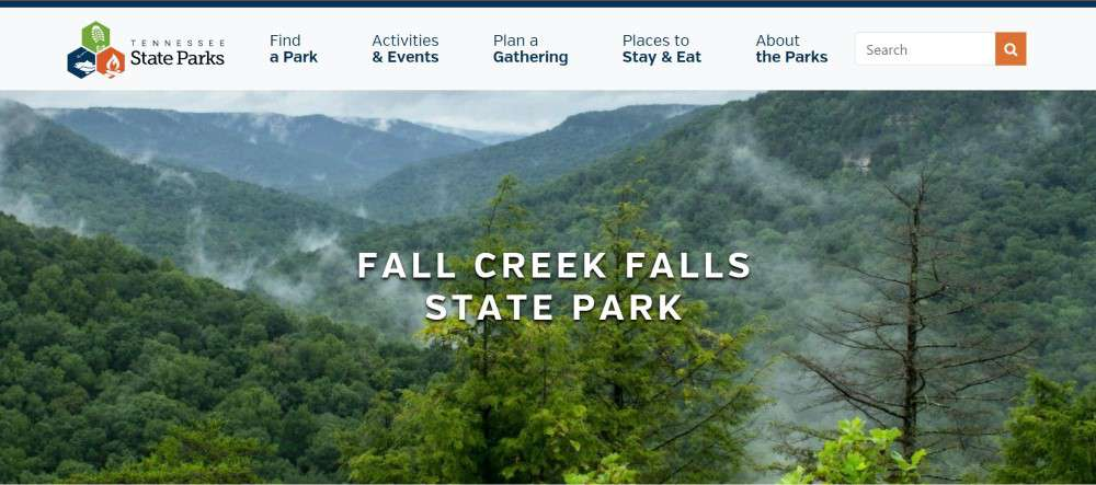 Image with information about fall creek falls state park in Tennessee